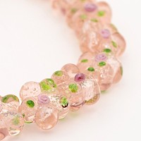 "NBEADS Handmade Silver Foil Lampwork Flower Beads, PeachPuff, 14x7~9mm, Hole: 1mm; about 20pcs/strand, 13.7"""