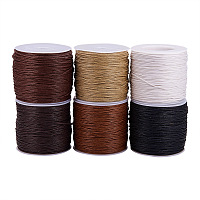 PandaHall Elite Mixed 6 Colors Gray Theme Diameter 1mm Waxed Cotton Cord Beading String for Jewelry Making, about 80yards(74m)/roll