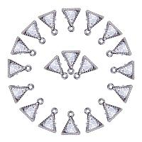ARRICRAFT About 100 Pcs Cubic Zirconia Alloy Triangle Shape Pendant Charms 11x9x5mm Jewelry Making Gunmetal