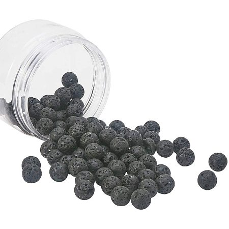 Natural Lava Beads Strands, Dyed, Round, Black, 10~10.5mm, Hole: 1mm; about 90~100pcs/box