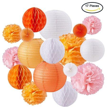 BENECREAT Mixed Color Paper Flower-balls Wedding Theme Birthday Party Decoration Honeycomb diameter 200~300mm