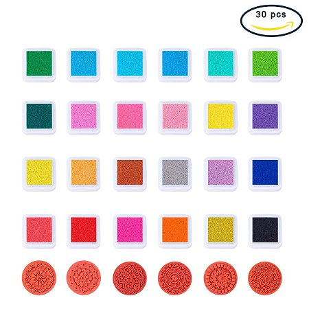BENECREAT 24 Colors Ink Pad Stamps with 6 PCS Lace Wood Stamps, Creative DIY Rainbow Color Finger Water-Soluble Rubber Stamps Crafts Ink Pads Set Scrapbooking Printing Card Making for Kids