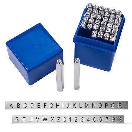 PandaHall Elite 36 Pcs Letter and Number Metal Stamp Set, 1/8