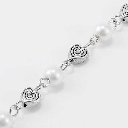 Handmade Round Glass Pearl Beads Chains for Necklaces Bracelets Making, with Tibetan Style Alloy Heart Beads and Iron Eye Pin, Unwelded, White, 39.3 inches