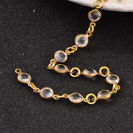 PandaHall Elite 3 Strands 3.3 Feet Brass Rhinestone Chain Link with Jump Ring for Necklaces Bracelets Jewelry Making