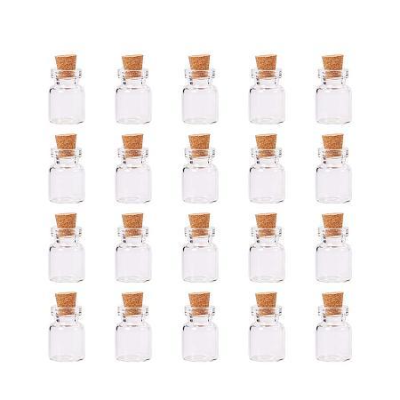 ARRICRAFT 20 Pcs Mini Tiny Message Clear Glass Jar Wishing Bottles Vials Cork Bead Containers Size 22x15mm