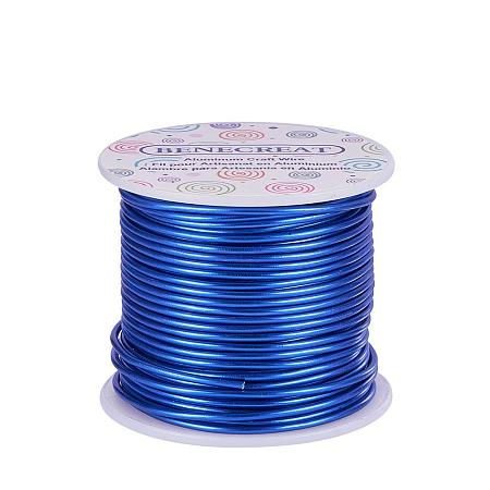 BENECREAT 12 Gauge Aluminum Wire Length 100FT Anodized Jewelry Craft Making Beading Floral Colored Aluminum Craft Wire - Blue