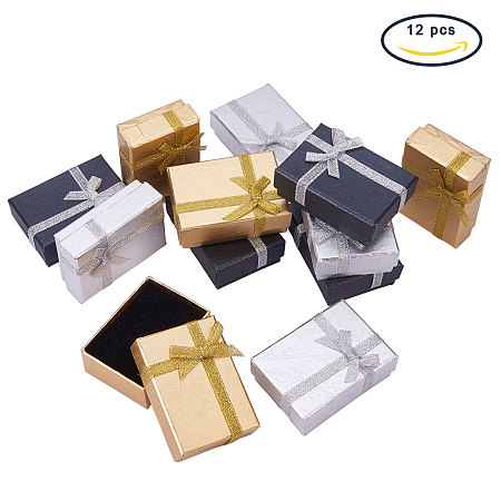PandaHall Elite 12 Pcs Cardboard Jewelry Gifts Boxes with Ribbon Bowknot 7x5x2.5cm for Jewelry, Rings, Necklaces, Bracelet, Earrings Packaging Box Mixed Color