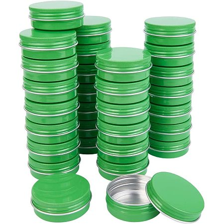 BENECREAT 30 Packs 30ML Green Round Tin Cans Screw Top Aluminum Cans for Storing Spices, Candies, Lip Balm and Party Favor Gifts