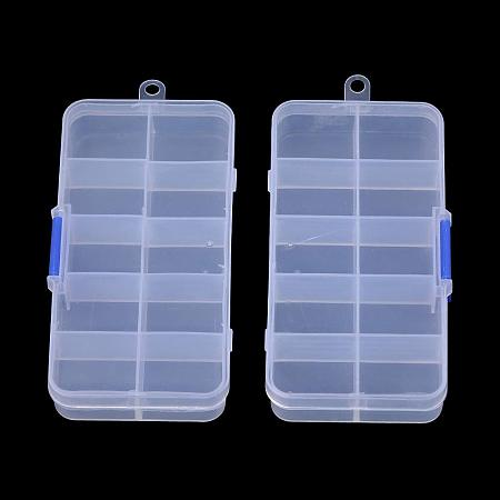 NBEADS 10 Pack Clear Plastic Jewelry Dividers Box Organizer, 10 Grids Adjustable Jewelry Bead Case Storage Container for Beads Small Items Craft Findings Storage