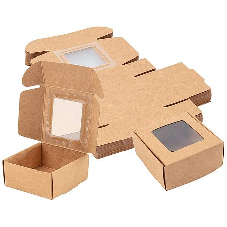 BENECREAT 30 Packs 2.5x2.5x1.2 Inches Square Brown Kraft Paper Boxes with Clear Windows for Party Favor Treats, Bakery, and Jewelry Packaging