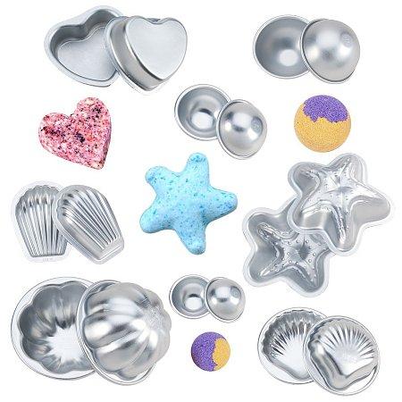 BENECREAT 8 Sets 16pcs Mixed Shape Aluminum Alloy Bath Bomb Molds Sets, Ball & Starfish & Scallop & Shell & Heart & Flower, Cake Pan Molds