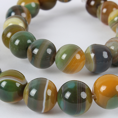 Nbeads Natural Gemstone Agate Round Bead Strands, Dyed, YellowGreen, 10mm, Hole: 1mm; about 38pcs/strand, 14.96