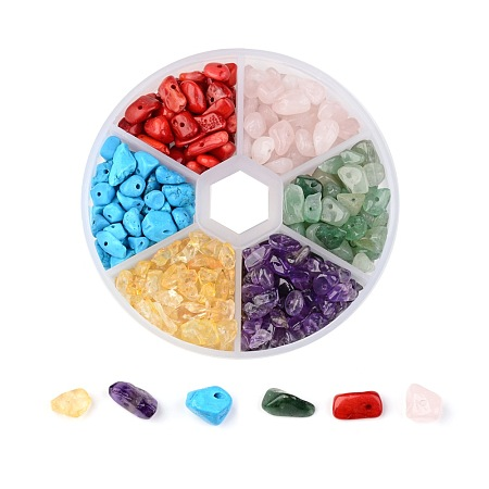 ARRICRAFT 350 Pcs Tumbled Chip Gemstone Beads Crushed Pieces Stone with Glass Bottle 6 Color for Jewelry Making