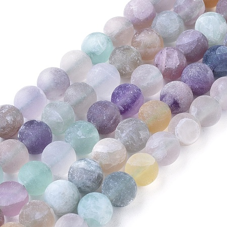 NBEADS Natural Fluorite Beads Strands, Frosted, Round, 8mm, Hole: 1.2mm; about 48pcs/strand, 15.94