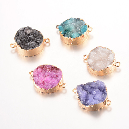 PandaHall Elite Mixed Color Plated  Natural Druzy Agate Links with Light Gold Plated Brass Findings for Bracelet Necklace Jewelry Making