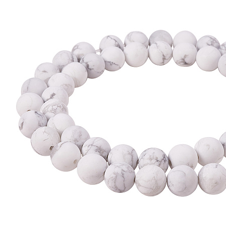 PandaHall Elite 8mm Frosted Natural Howlite Bead Strands Round Loose Beads Approxi 15 inch 47pcs 1 Strand for Jewelry Making