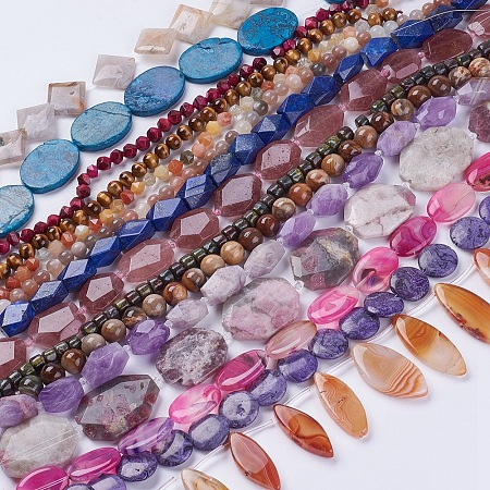 NBEADS Dye Natural Gemstone Beads Strands, Mixed Shapes & Mixed Color, 14.5