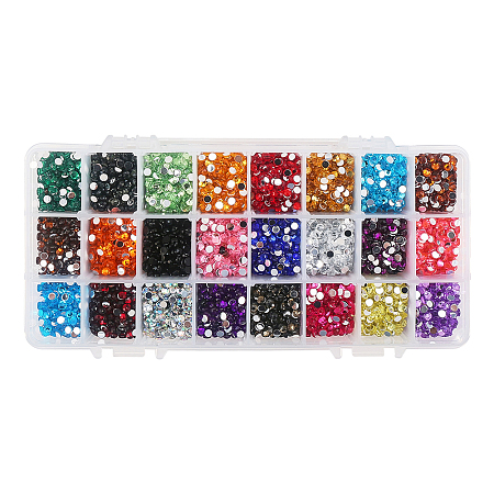 PandaHall Elite 10800 Pcs Faceted Flat Round No Hot Fix Acrylic Rhinestones Cabochons Glitter Diamond Gems Decorations for Cell Phone Nail Art Mixed Color