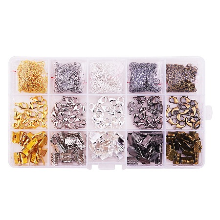PandaHall Elite Basic Jewelry Findings with Lobster Clasp Iron Jump Rings Ribbon Ends for Jewelry Making, about 1400 Pcs/box
