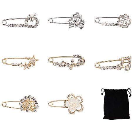 NBEADS 8 PCS Women Alloy Safety Brooches with Rhinestones for Women Crafts Scarf Cardigan Shawl Buckle Hat Sweater Decorative Safety Pin Brooch, Platinum and Golden