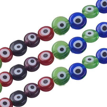 NBEADS 1 Strand (About 64pcs/Strand) Random Mixed Color Flat Round Evil Eye Lampwork Beads Handmade Glass Beads for Jewelry Making