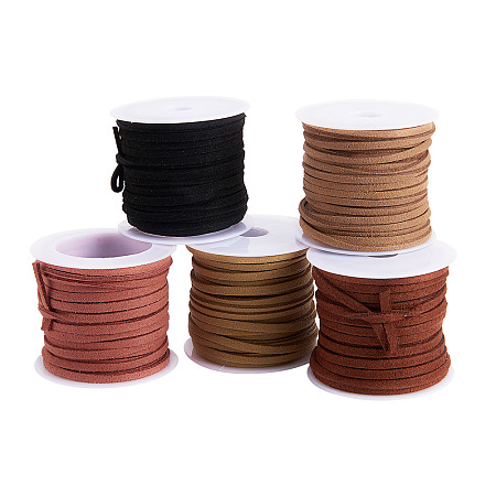 PandaHall Elite 3mm Mixed Color Lace Faux Leather Suede Cord Beading Craft Cord Velvet String, 5m/roll, 5 roll/bag