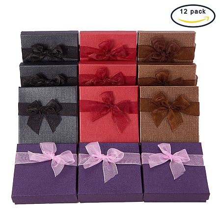 BENECREAT 12 Pack Cardboard Jewelry Bangle Gift Boxes With Bows in 4 Colors for Bangle and Bracelet - 3.5 x 3.5 x 1 Inches
