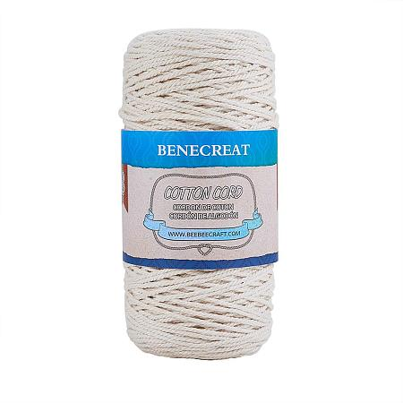 BENECREAT 2mm x 220 Yards(656 ft.) Macrame Cord 100% Natural Cotton Rope 3-Strand Twisted Cotton Cord for Handmade Plant Hanger Wall Hanging Craft Making