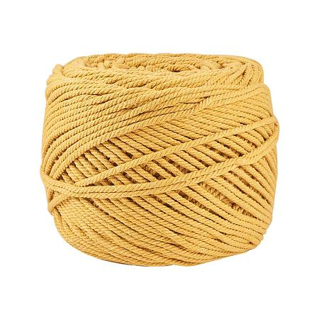 BENECREAT 3mm x 220 Yards(656 ft.) Macrame Cord 100% Natural Cotton Rope 4-Strand Twisted Cotton Cord for Handmade Plant Hanger Wall Hanging Craft Making, Gold