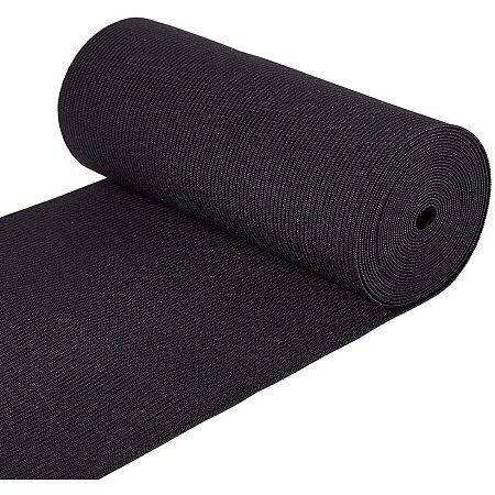 BENECREAT 3.3 Yard/3m 6 Inch Wide Flat Elastic Band Black Heavy Stretch Knit for Garment Sewing Project