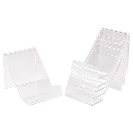 PandaHall Elite 6 Pack Acrylic Book Display Stands Brochure Picture Easel Stand Artwork Stand Holder Organizer Carrier