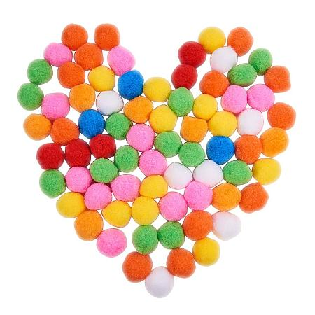 PandaHall Elite About 120 Pcs 35~40mm Wool Pompoms Multicolor Fuzzy Pom Poms Balls for DIY Doll Arts and Crafts Decorations
