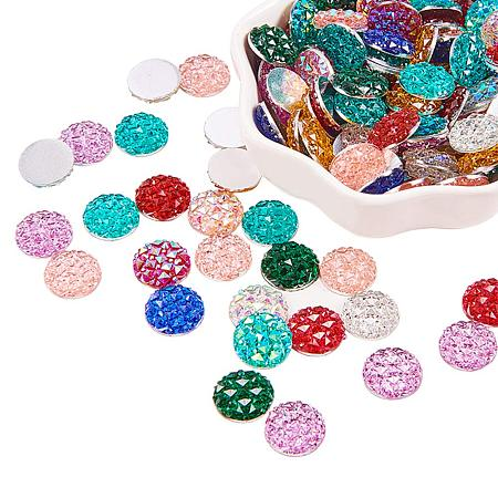 PandaHall Elite 130pcs 10 Colors 12mm Flat Back Resin Cabochons Druzy Iridescent Mermaid Deco Cabochons for Pendant Charms Jewelry Making