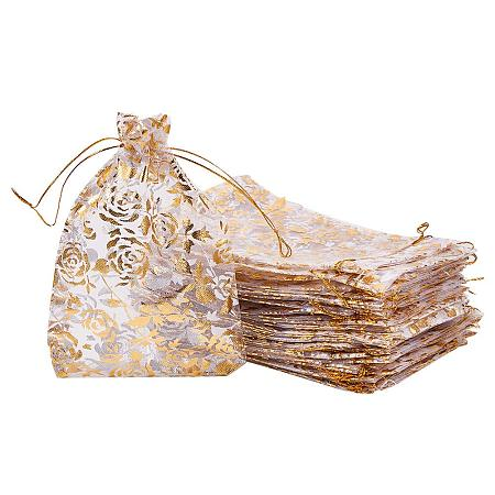 PandaHall Elite 50pcs 5 x 7 Inches Golden Rose Flower Printed Organza Bags Jewelry Pouch Bags Organza Drawstring Pouches Wedding Favors Candy Gift Bags