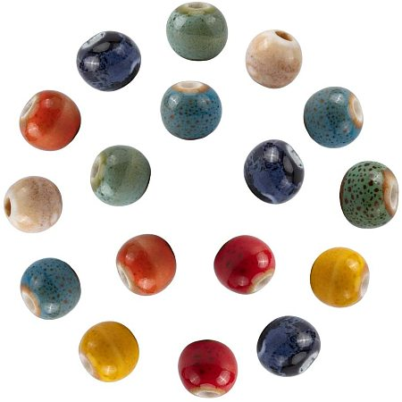 NBEADS 160 Pcs 9mm Diameter Handmade Porcelain Beads, 8 Colors Rondelle Fancy Antique Glazed Ceramic Porcelain Beads with 2.5mm Hole Loose Ball Beads for DIY Jewelry Making Projects