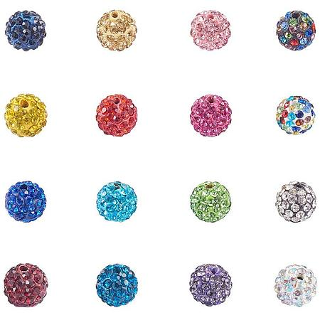 NBEADS 100 Pcs 10mm Pave Czech Crystal Rhinestone Disco Ball Clay Spacer Beads, Mixed Color Round Polymer Clay Charms Beads for Shamballa Jewelry Making