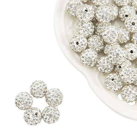 NBEADS 10mm 100pcs Pave Czech Crystal Rhinestone Disco Ball Clay Spacer Beads, Round Polymer Clay Charms Beads for Shamballa Jewelry Making