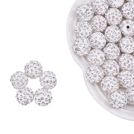 NBEADS 100pcs 12mm Polymer Clay Clear Gemstones Cubic Zirconia CZ Stones Pave Micro Setting Disco Ball Spacer Beads, Round Bracelet Connector Charms Beads for Jewelry Making