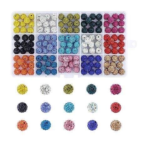 ARRICRAFT 1 Box 150 Pcs 10mm Shamballa Pave Disco Ball Clay Beads, Polymer Clay Rhinestone Beads Round Charms Jewelry Makings