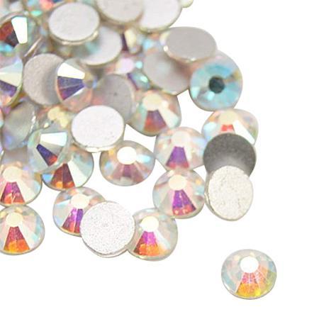 NBEADS About 288pcs/bag Crystal AB Half Round Grade A Back Plated Glass Flat Back Rhinestone, 7.1~7.3mm