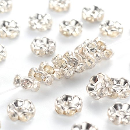 NBEADS 500pcs/bag Grade B Brass Rhinestone Spacer Beads, Clear, Silver Metal Color