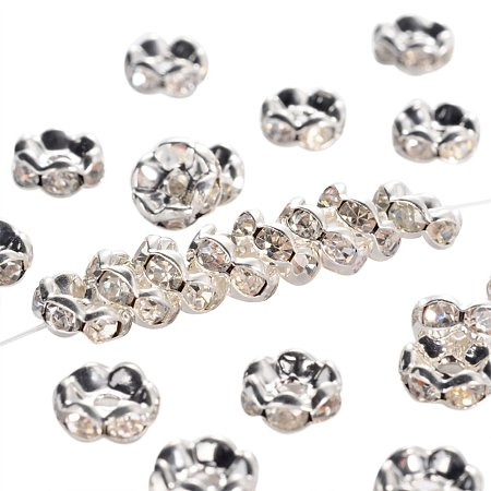 NBEADS 100pcs Middle East Rhinestone Spacer Beads, Clear, Brass, Silver Metal Color, Nickel Free