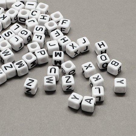 NBEADS 500g Large Hole White & Black Cube With Letter Mixed Acrylic Alphabet European Beads