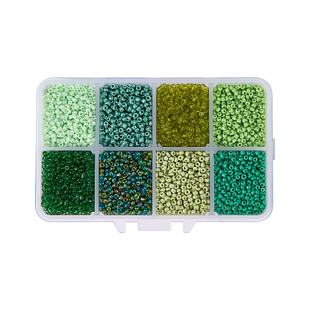 PandaHall Elite 12/0 Round Glass Seed Beads Diameter 2mm Multicolor Loose Beads for Jewelry Making, about 12500pcs/box