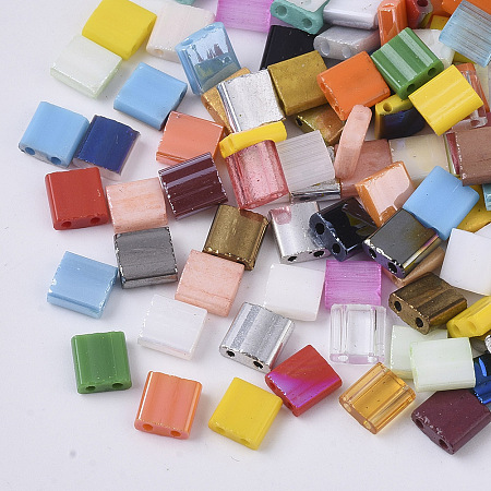 MIYUKI® 2-Hole Glass Seed Beads, Mixed Style, Rectangle, Mixed Color, 5x4.5~5.5x2~2.5mm, Hole: 0.5~0.8mm