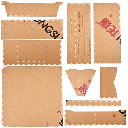 NBEADS 1 Set 10 Pcs Handcraft Wallet Templates, Leather Craft Pattern Long Wallet Acrylic Template Cutting Model for Beginner DIY Handmade Simple Clutch Long Purse