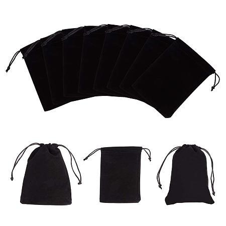 NBEADS 10PCS Black Velvet Pouch Jewelry Bags Wedding Party Favor Bag, 17.5x12cm