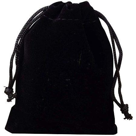 NBEADS 50 PCS Velvet Bags, 5x7cm Black Velvet Bag for Jewelry Earplug and Key Chains