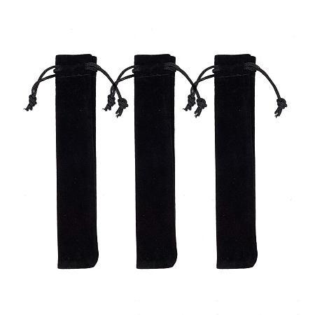 PandaHall Elite 50pcs Black Velvet Pouches Bags with Drawstring Pen Holders Gift Bags for Pen Pencil Jewelry Bracelets Necklaces Storage (6.5